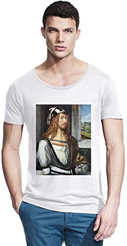 Top Paintings of All Time Albrecht Dürer - Self-Portrait Painting Men Bamboo Wide Neck T-Shirt Stylish Fashion Fit Custom Apparel by Small -
