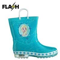 Disney Frozen Light Up Wellington Boots Infants Girls Blue Wellies Gum Boot