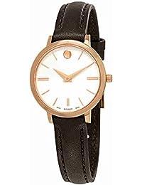 Movado Women's Ultra Slim 28mm Black Leather Band Swiss Quartz Watch 0607158