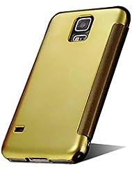 Samsung Galaxy S5Funda, nnopbeclik Hybrid 2in1Ultra Slim TPU + PC Carcasa Cover Case Piel Flip galvanoplástica Diamante Smart Dormir Cera Patrón Funda Funda Mirror Clear Aussicht resistente al espejo de estilo libro brillantes cristales Teléfono Móvil Funda Funda Carcasa Bumper pour Samsung Galaxy S55.1pulgadas