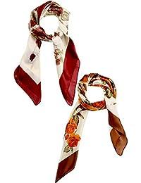 4b97c2b130a0 2 Pièces Grande Écharpe Carrée Foulard Imprimé en Satin de Soie pour Femmes  Filles Faveurs