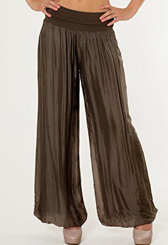 CASPAR KHS010 Damen elegante lange Seiden Chiffon Marlene Hose / Hosenrock mit hohem Stretch Bund, Farbe:dunkelbraun - 3