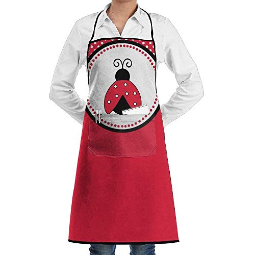 rzen, Cute Red Ladybug Novelty 3D Print Water Resistant Polyester Kitchen Apron with Big Pockets Machine Washable Easy Care Twill Sewing Bib Apron for Cooking BBQ Party ()