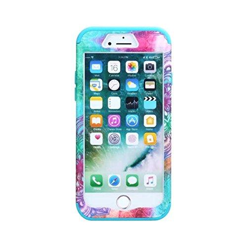 iPhone 8 Coque, Lantier Henna Mandala Floral Flowers / Butterflies Hybrid Armor TPU + Plastic Heavy Duty Bumper High Impact Shockproof Durable Case Cover pour Apple iPhone 8 Mandala Blue