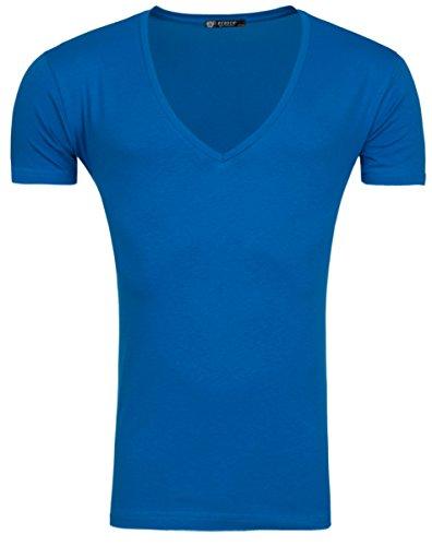 ReRock Xtreme Deep V Neck T-Shirt tiefer V Ausschnitt Markenshirt Basic Blau