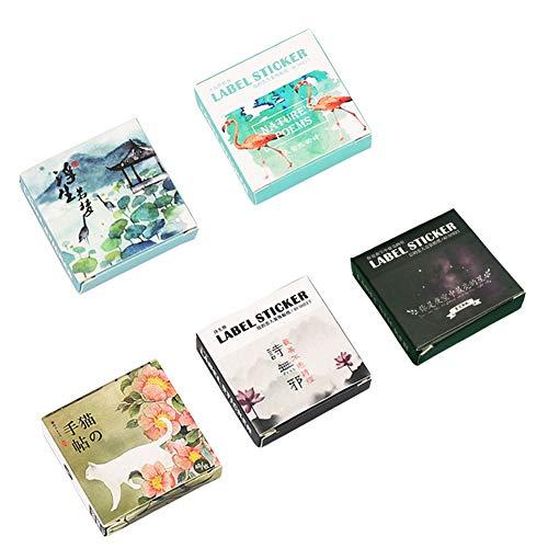 Paper Stationery Aufkleber-Set (5 Set), 200 Teile, schöne Szenerie Brightest Stars Planet Nature Vogel Vintage Sticker Scrapbook Tagebuch Planer DIY Label -