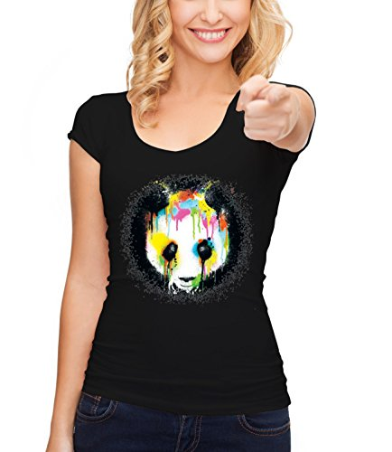 Three Monkeys Printing Graphic Panda Animals Collection Women's Crew Neck T-Shirt Nero Small