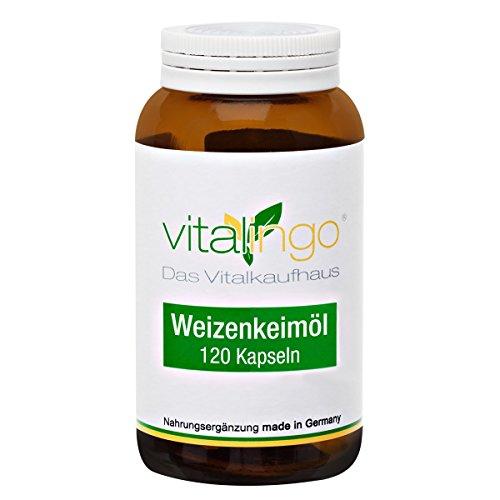 Olio di germe di grano capsule di vitalingo - olio di germe di grano capsule - 120 capsule á 425mg. Per capsule: 270mg olio di germe di grano