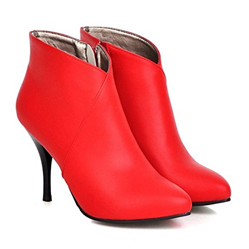 TAOFFEN Femmes Automne Cheville Bottes red