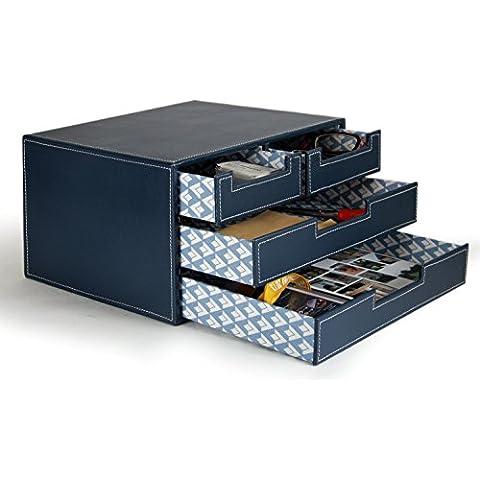 WOOSAL 4 piccolo cassetto PU Filing pelle Cabinet Office Desk Organizer, multifunzionale cancelleria Box (Blu Navy)