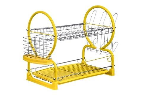 Premier Housewares 0509867 Égouttoir à Vaisselle de 2 Niveaux Chromé/Cadre en Émail Jaune Laqué