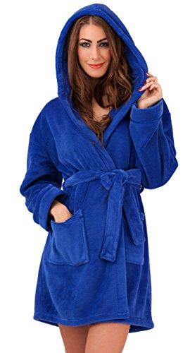 Damen-Bademantel, luxuriöses Design, kurz, weich, mit Kapuze und Gürtel, Fleece, in 12Farben Gr. Large, blau