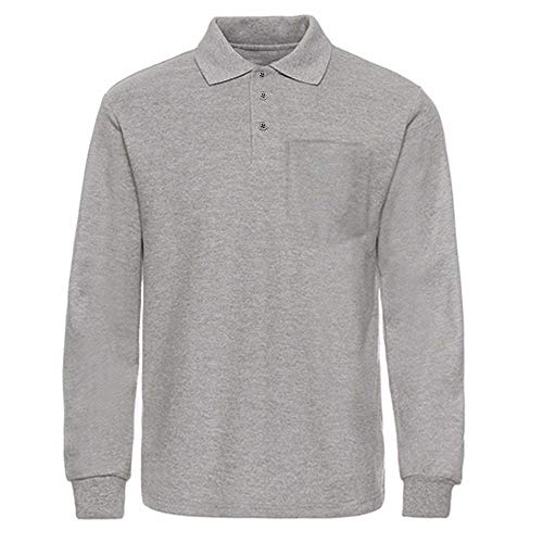 MOHEEN Herren Outdoor Big & Tall Long Sleeve Moisture Wicking Performance Golf Polo Shirt - Grau - Groß -