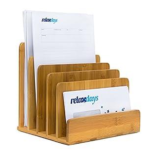 Relaxdays Dokumentenhalter aus Bambus HBT: ca. 23 x 24,5 x 20,5 cm praktische Briefablage Ordnungssystem für den Schreibtisch passend als Zeitungs-/ Zeitschriftenständer oder Prospekthalter, Natur