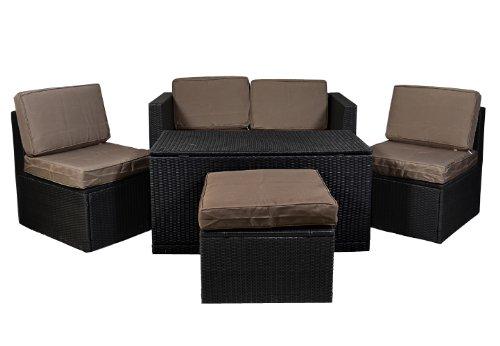 Nexos Gartenmöbel 6tlg Set Sitzgruppe Poly Rattan Lounge Garten Garnitur Couch ecru