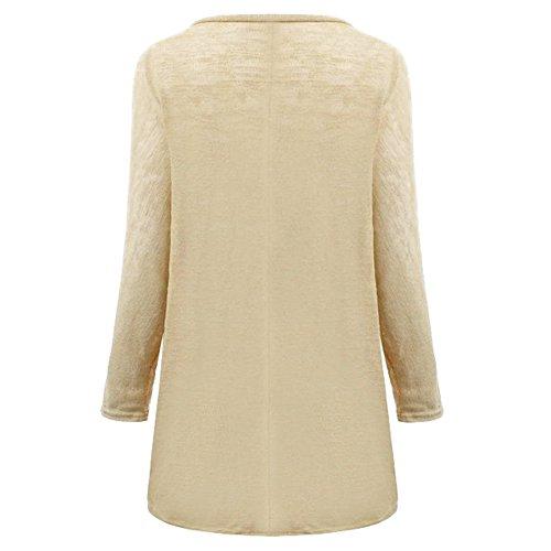 hibote Dernières femmes européennes et américaines Asymmetric à manches longues en tricot T-shirt décontracté en vrac Multicolor Sweater Beige