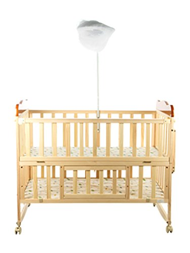 Mee Mee Baby Wooden Cot with Swing and Mosquito Net, Light Oak