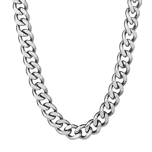 KRKC&CO 12 mm Panzerkette platiniert Cuban Link Chains Edelstahl Halskette Miami kubanische Gliederkette für Herren Hip Hop Halskette für Männer Jungen Größe 46 51 61cm