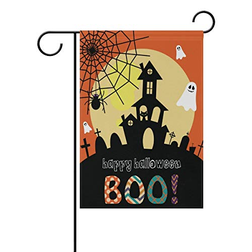 ASKYE Halloween Ghost Castle Double Sided Polyester Garden Flag, Halloween Winter Holiday Decorative Flag for Party Yard Home Decor(Size: 12.5inch W X 18 inch H) Halloween Ghost Cowboys