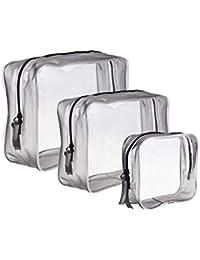 e8a4299a4 3 Piezas Bolsa de Aseo Transparente Neceser PVC Impermeable Mujer Bolsa de  Cosmético Organizador de Viaje