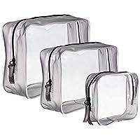 3 Piezas Bolsa de Aseo Transparente Neceser PVC Impermeable Mujer Bolsa de Cosmético Organizador de Viaje