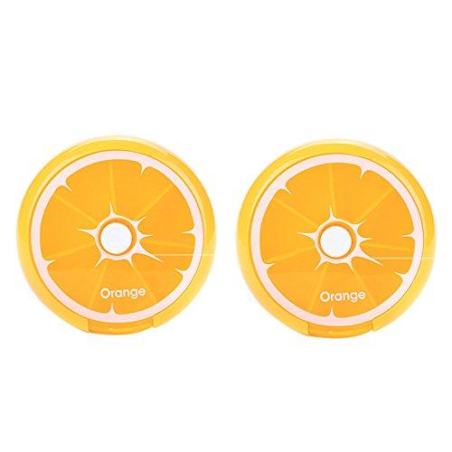 Hosaire 2 Pieza Portátil Giratorio 7 Compartimentos Organizador de la Píldora Semanal Viajes Medicina Tablet Titular Caja de Almacenamiento Dispensador de la Caja, Lindo Estilo de Frutas (Naranjas)