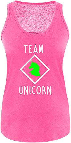 EZYshirt® Team Unicorn Damen Tanktop Fuchsia/Weiss/Neongr
