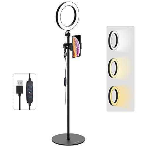 Tryone Ringlicht Bodenständer, Live Stream Ständer mit 8 Zoll dimmbare LED Ringleuchte für YouTube Vine Selfie oder Makeup