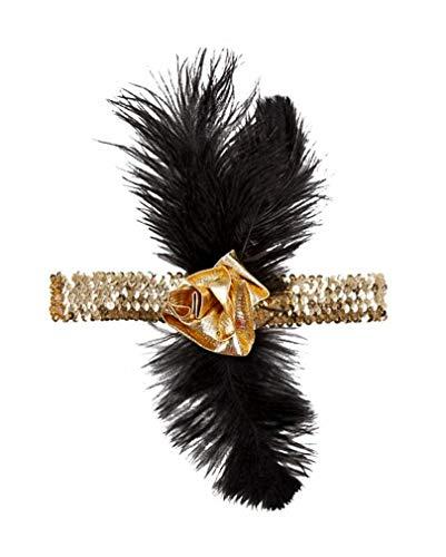 Horror-Shop Schwarz-goldenes Flapper Stirnband