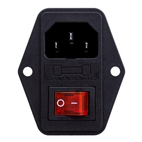 Kaltgerätestecker Stecker mit Rot Schalter IEC320 C14 10A Sicherung Einbaubuchse