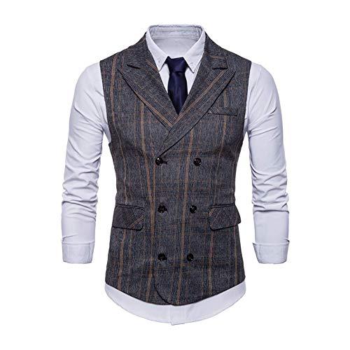 FuweiEncore 2018 Business Plaid Vest Men Casual Double Breasted Ärmellose Anzug Weste Herbst Retro Schlanke Männliche Gilet Weste Plus Größe,2,S (Farbe : 2, Größe : XXXL) -