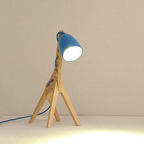 Preisvergleich Produktbild Xuan - worth having Tischlampe Schreibtischlampe Tisch Licht Schreibtisch Licht Nacht Licht Eisen und Holz gemacht blaue Farbe LED oder Glühlampe GU10 Kappe Druckknopf Schalter Studie Wohnzimmer Schlafzimmer Bett 45cm * 34cm