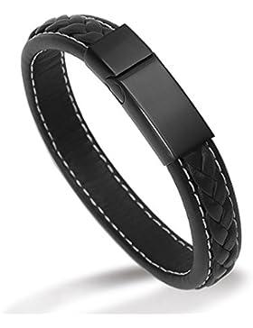 """LACEZ Herren-Armband """"Nemesis"""" aus Leder (21.5 cm) mit magnetischem Edelstahl Verschluss inkl. personalisierbarer..."""