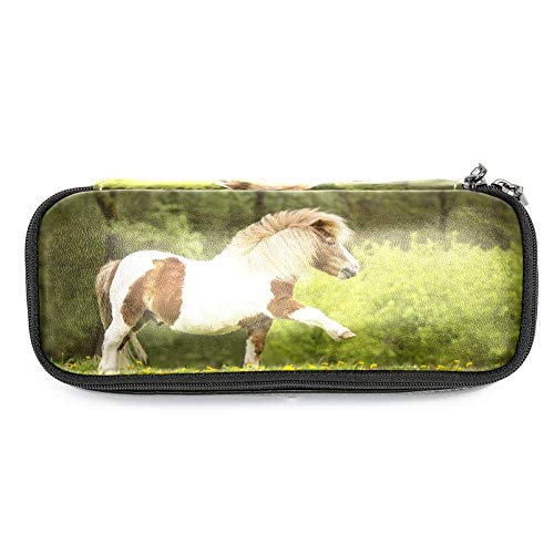 Desheze Pferd Kinderleder Reißverschluss große Kapazität Bleistift Karton Bleistift Taschen Karton für die Schule,19x7.5x3.8cm