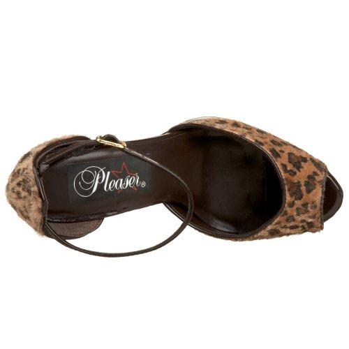 Pleaser Bliss 33 - Scarpa da donna Peep Toe con tacco altissimo e plateau, colore: Leopardato Beige