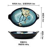 NiNnn Plat Occidental de Style Japonais Ovale Creative Assiette de Fruits Assiette de salades Dumplings Plat à Poisson Plaque Longue Fours à Micro-Ondes, Magnolia