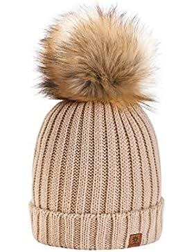 4sold Gorro de invierno de forro polar para mujer con cristales y pompón multicolor