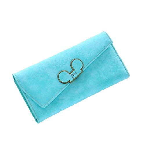 Scrubs Lang Frauen Brieftasche OdeJoy Dame Tasche Brieftaschen Leder Geldbörse Krokodil Leder Brieftasche Mobil Geldbörse Multifunktional Brieftasche LässigTäglich Rucksack (Himmelblau, 1 PC) - Lange Scrub-tops