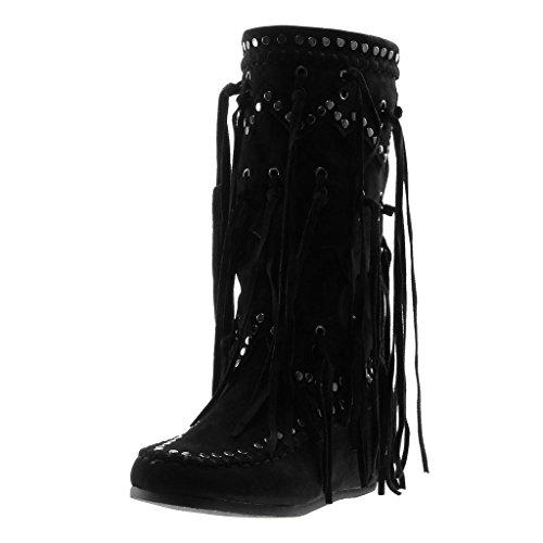 Angkorly - Damen Schuhe Stiefel - Mokassin Stiefel - Reitstiefel Kavalier - Folk - Fransen - Nieten - Besetzt Flache Ferse 5 cm - Schwarz B7675 T 40