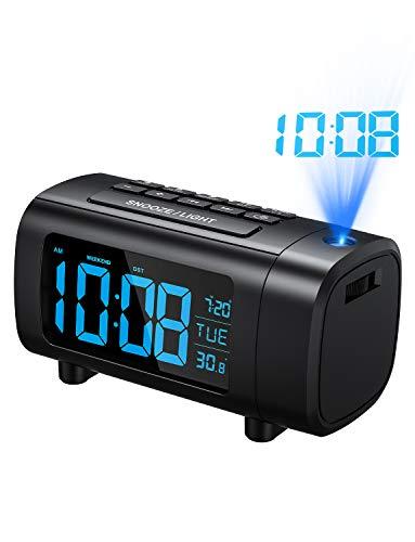 Mpow Reloj Despertador de Proyección, Radio Despertador, Reloj Despertadores Digitales, Dígito Azul...