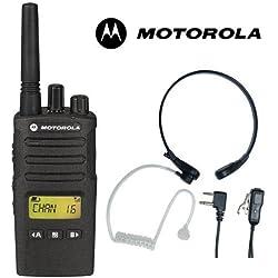 8Km Motorola XT460 Dos Vías PMR 446 Walkie Talkie Licencia Libre Radio Con Comtech CM-515TH PTT/VOX Micrófono De Garganta Auriculares - Negro, Single