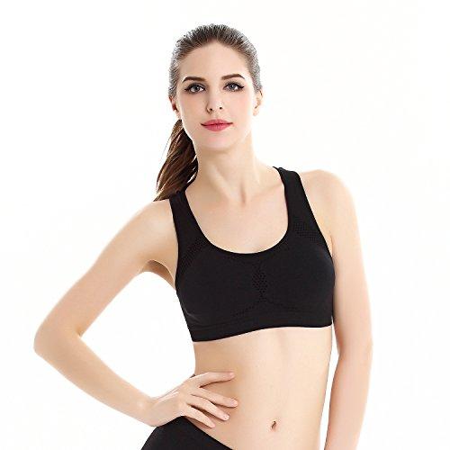 fenyi Soutien-gorge de sport sans coutures pour femme yoga creux Noir - Noir