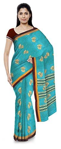 Kota Doria Sarees Handloom Women's Kota Doria Handloom Cotton Silk Saree With Blouse Piece (Blue)