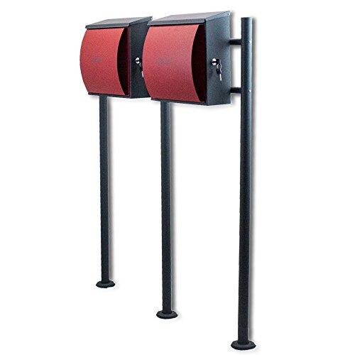 BITUXX® Design Doppelstandbriefkasten Briefkastenanlage Seitenschloss und Zeitungsfach Dunkelgrau/Rot - 2