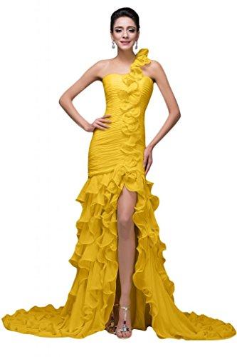 Sunvary, motivo: fiore in Chiffon con rouches Prom Gowns Pageant vestiti, imbottito decorato con strisce di tessuto pieghettato Giallo