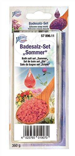CREARTEC Badesalz Set zum selber machen - Typ Sommer mit Flower Duft und Rosen Farbe - Wellness zum selber machen und verschenken - Made in Germany