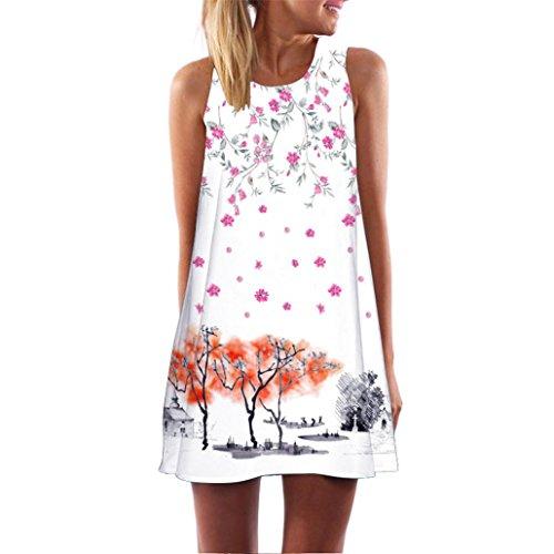 MRULIC Frauen Lose Sommer Weinlese Blumendruck Kurzschluss 3D Bild Minikleid Gerades Kleid mit Schmetterlinge Muster (EU-42/CN-L, S-Weiß)