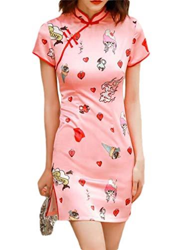 CuteRose Women Chinese Dress Cheongsam Charmeuse Slim Picnic Party Dress 2 S -