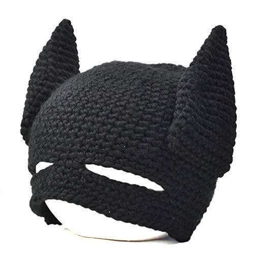 WIDG Cosplay Strickmützen Hüte Winter Lustige Mütze Warme Mützen Schwarz Party Maske Geburtstagsgeschenk für Erwachsene und Kinder