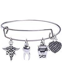 Da Medical Symbol Jewelry Diente Dientes & Floss corazón charms brazalete pulsera para dentista